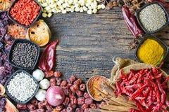 herb czosnków bay kardamonowi liści pieprzowe spice waniliowe rosemary soli Obrazy Royalty Free
