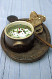 Herb and egg soup Royalty Free Stock Images