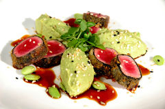 Herb encrusted ahi tuna Stock Images