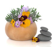 Herb and Flower Therapy. Lavender herb leaf sprigs and yellow viola flowers in a beech wood mortar with pestle with grey spa stones, isolated over white stock photography