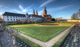 Herb Garden and Abbey. A former Benedictine abbey and herb garden in Seligenstadt royalty free stock images
