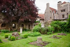 Herb Garden medicinal na catedral Kent Southern Engl de Canterbury foto de stock