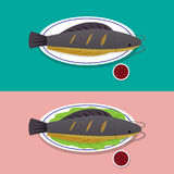 Herb grilled catfish on white plate, Thai food royalty free illustration