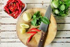 Herb Ingredient für gehacktes Schweinefleisch, thailändisches Lebensmittel Lizenzfreie Stockfotografie