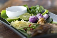 Herb ingredient of Tom Yum spicy soup Traditional Thai food cuis Stock Photography