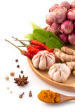 Herb ingredient of Traditional Thai food cuisine on wooden plate Royalty Free Stock Photo
