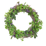 Herb Leaf Garland. With purple and variegated sage, oregano, basil and lavender flowers, isolated over white background royalty free stock photos