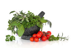 Herb Leaf Selection with Tomatoes. Herb leaf selection and cherry tomatoes on the vine with a granite mortar with pestle, over white background Royalty Free Stock Photos