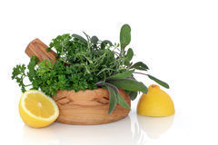Herb and Lemon Freshness. Herb leaf selection of parsley, sage, rosemary and thyme in an olive wood mortar with pestle and lemon halves, isolated over white royalty free stock image