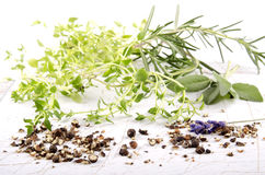 Herb mixture on bright background Royalty Free Stock Image
