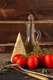 Herb, oil, tomatoes and cheese Royalty Free Stock Images