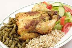 Herb Roasted Cornish Hen with Rice Stock Photo