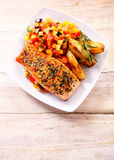 Herb Roasted Salmon with Roasted Potato and Salsa Royalty Free Stock Photos