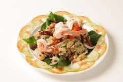 Herb salad with shrimp. Thailand food Royalty Free Stock Photos