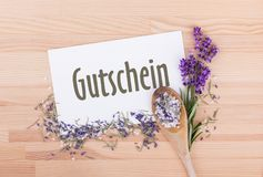 Coupon with rosemary and lavender royalty free stock image