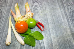Herb set of Tom Yum Soup Ingredients for Thai food Stock Photo