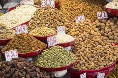 Herb shelf display. Herb and spice display of shop in spice market in old delhi, Delhi, India stock image
