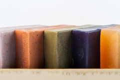 Herb soaps. A group of herb soaps on a white background Stock Images