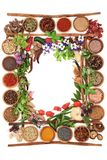 Herb and Spice Abstract Border. Herb and spice abstract background border with fresh and dried herbs and spices and cinnamon sticks creating a frame Top view Stock Image