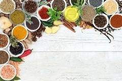 Herb and Spice Background Border Stock Photography