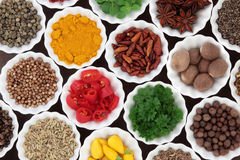 Herb and Spice Ingredients Royalty Free Stock Photography