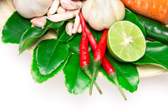 Herb and spice ingredients for asian food on white background Stock Photography