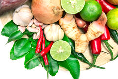 Herb and spice ingredients for asian food on white background Royalty Free Stock Photo