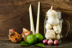Herb and spice. (lime,kaffir lime leaf,lemon grass,shallot,garlic and galangal) on wooden background stock photos