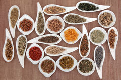 Herb and Spice Sampler. Large medicinal herb and spice selection also used in magical potions over papyrus background Stock Photography