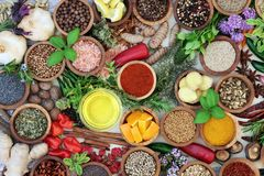 Herb and Spice Seasoning. Abstract background with fresh and dried herbs and spices and olive oil. Top view royalty free stock photography