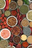 Herb and Spice Selection. Herb and spice food selection dried and fresh on rustic wood background. With dried ring of fire, padron and scorpio chilli peppers stock image