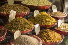 Herb and spice shop. Herb and spice display of shop in spice market, Old Delhi. this market is biggest spice market in Delhi royalty free stock photography