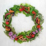 Herb and Spice Wreath. With a selection of dried and fresh herbs and flowers on rustic wood background with copy space stock images