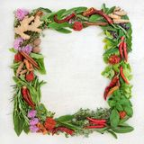 Herb and Spice Wreath. Herb leaf and spice wreath with a selection of fresh herbs with flowers on rustic wood background with copy space stock image