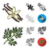Herb and spices cartoon,black,flat,monochrome,outline icons in set collection for design.Different kinds of seasonings. Vector symbol stock  illustration Stock Photography