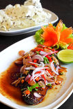 Herb spicy salad with Saba fish teriyaki sauce Royalty Free Stock Image