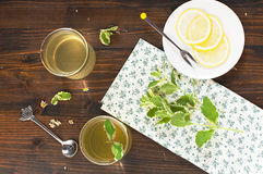 Herb tea. With mint and lemon, top view Royalty Free Stock Photo