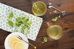 Herb tea. With mint and lemon, top view Royalty Free Stock Photography