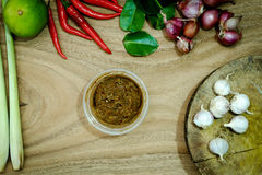Herb in Thailand. Ingredient chili paste on wooden floor Royalty Free Stock Photography
