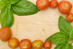 Herb and tomato border Stock Photography