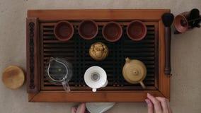 Herbaciana ceremonia dziewczyn ręki spada uśpeni herbaciani liście w czajniku zbiory