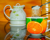 Herbaciana filiżanka biała, gorący, zielony, teapot, woda, ciecz, Obraz Royalty Free