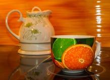 Herbaciana filiżanka biała, gorący, zielony, teapot, woda, ciecz, Zdjęcia Stock