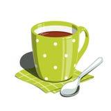 Herbaciana filiżanka i łyżka ilustracji