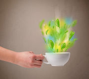 Herbaciana filiżanka z liśćmi i kolorowymi abstrakcjonistycznymi światłami Zdjęcia Stock