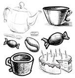 Herbaciana i kawowa czas kolekcja Zdjęcia Royalty Free