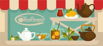 Herbaciana izbowa gablota wystawowa z półkami i garnkami na one royalty ilustracja