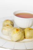 Herbaciana przerwa z Chińskim ciastem, Chiński festiwalu deser. Fotografia Royalty Free