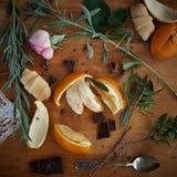 Herbaciane czas pomarańcze 2 i czekolada Obraz Royalty Free