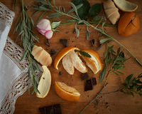 Herbaciane czas pomarańcze 3 i czekolada Zdjęcie Stock